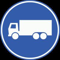 F21 Rijbaan of –strook uitsluitend ten behoeve van vrachtauto's en voor andere voertuigen die een ontheffing hebben